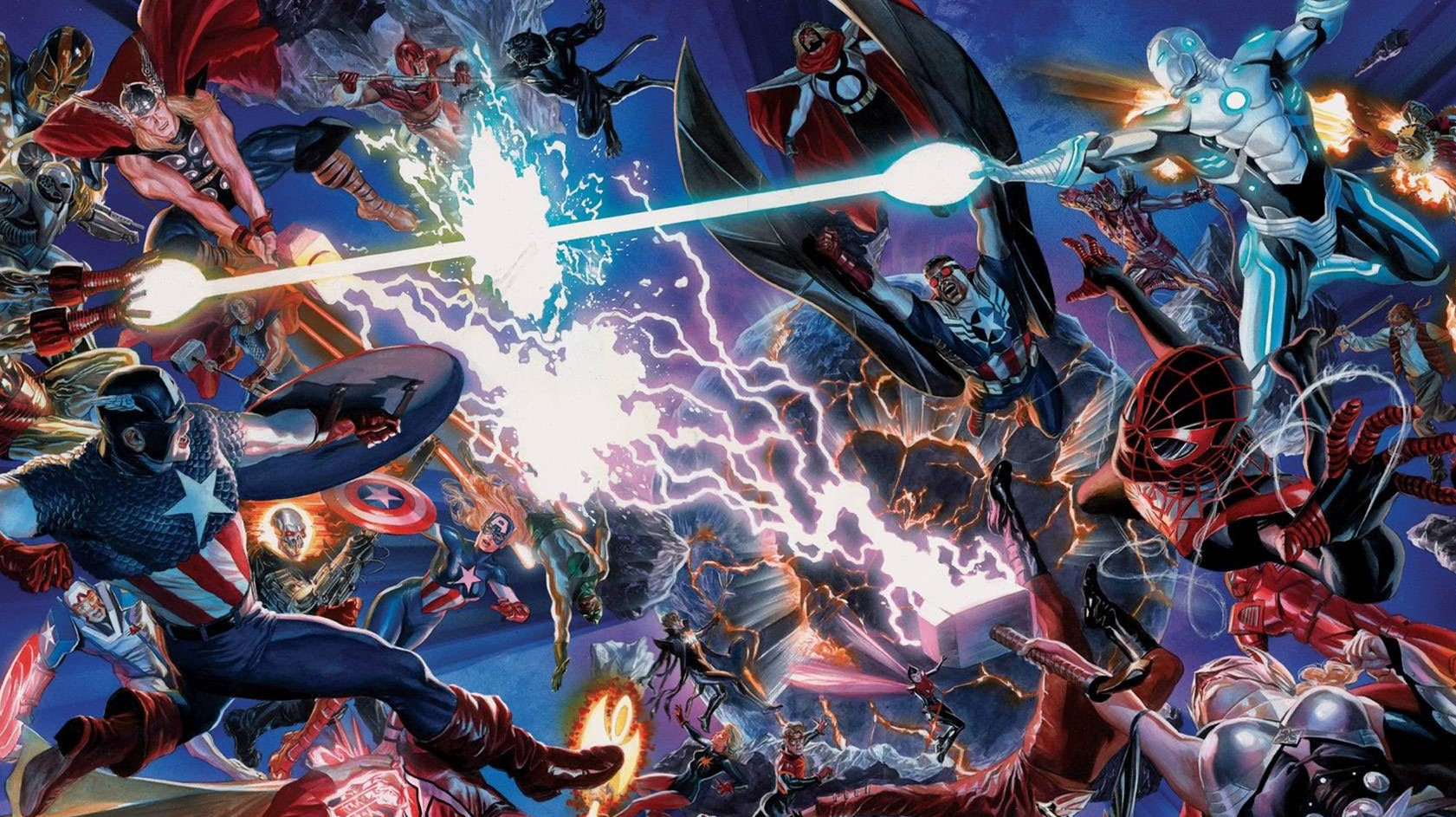 Painel de Secret Wars da Marvel Comics